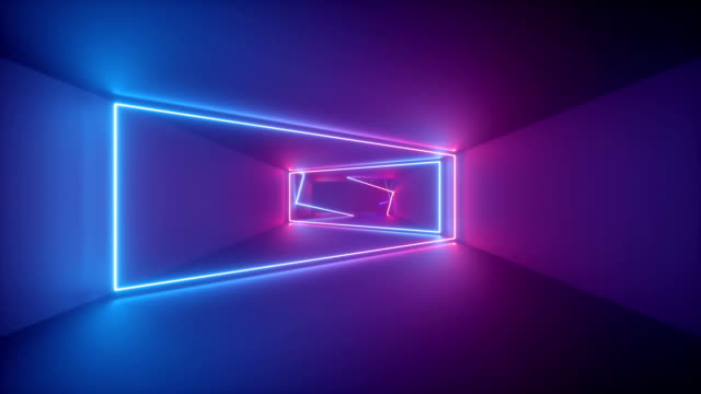 vídeos de stock e filmes b-roll de 3d render, abstract geometric background, fluorescent ultraviolet light, glowing neon lines rotating inside tunnel, blue red pink purple spectrum, shapes spinning around, looped animation - design