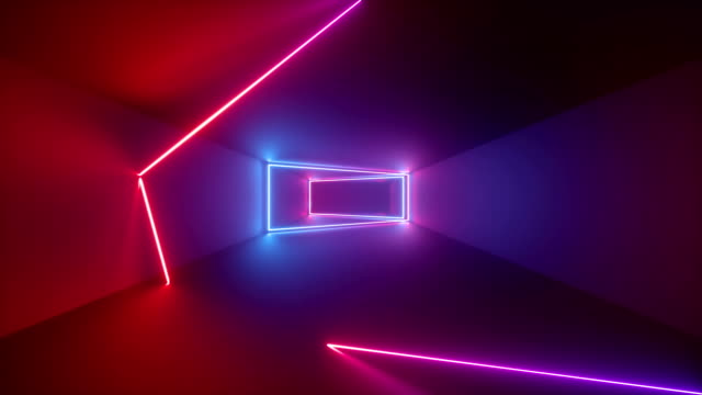 3d render, abstract geometric background, fluorescent ultraviolet light, glowing neon lines rotating inside tunnel, blue red pink purple spectrum, rectangular frames, looped animation - тоннель стоковые видео и кадры b-roll