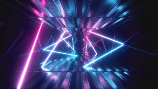 Video 3d render, abstract metallic texture virtual reality tunnel. Futuristic motion graphic. Ultra violet neon light glow, fluorescent light. Flying forward corridor. Seamless loop 4k CG 3d animation