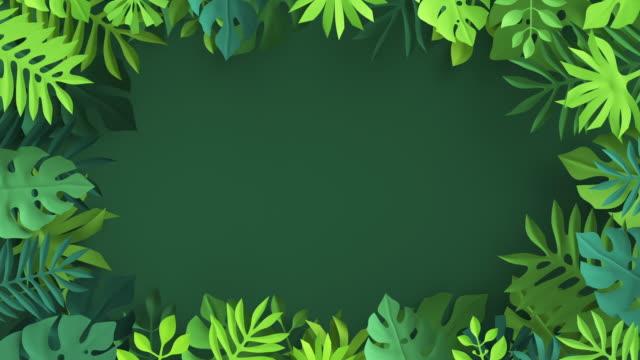vídeos de stock, filmes e b-roll de renderização 3d, folhas de palmeira tropical de papel abstrato aparecendo sobre fundo verde, animação de papel de parede botânico, imagem ao vivo da selva, design de movimento de folhagem acenando, quadro com espaço de cópia - estampa floral