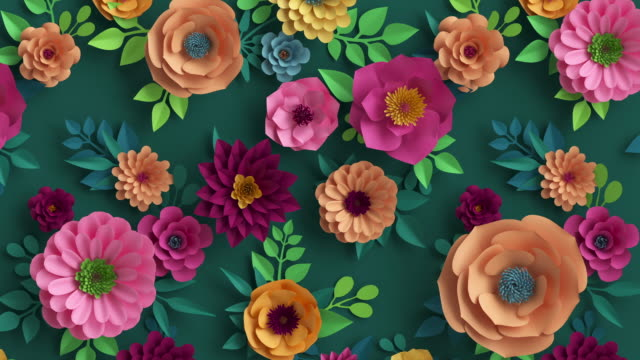 3d render, abstract pink peachy orange paper flowers appearing over dark green background, colorful botanical motion design, blooming live image, creative floral wallpaper