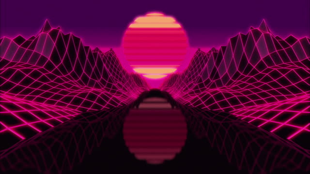 A 3d Render animation 80´s style with a road, mountains and a big sun at the horizon.
