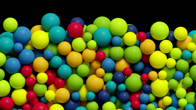 3d render, Colorful balls falling, filling the picture, kids toys, plastic balls, transition with alpha matte, 4k video
