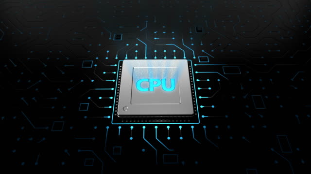3d render CPU chip on black circuit board. video