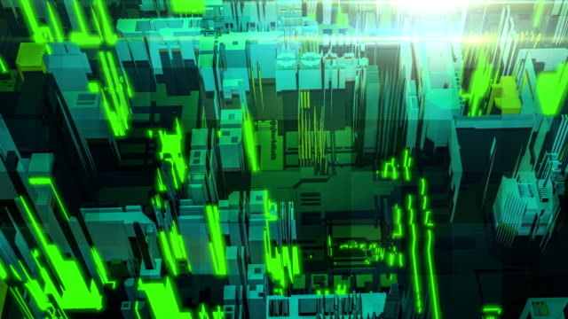 3d render digital abstract green building architecture fragment. Cyber City. Printed circuit board PCB technology repetition.Displacement