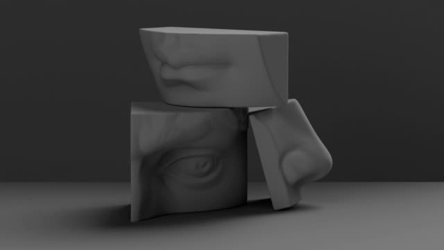 3d render, digital illustration, abstract alabaster blocks, eye, nose, lips, mouth, anatomy sculptural face details, david sculpture parts - скульптура стоковые видео и кадры b-roll