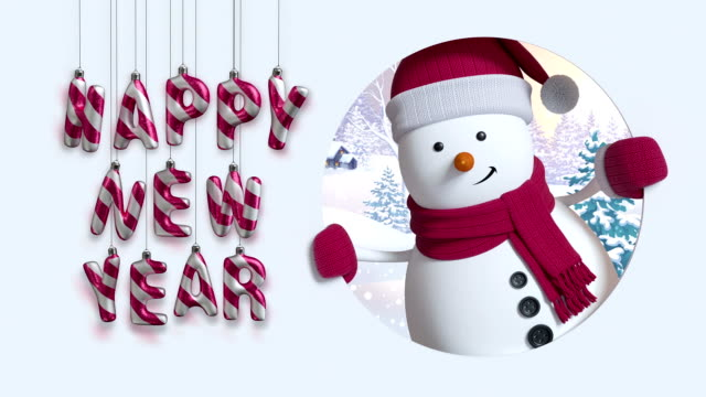 3d render, happy new year, hanging sparkling letters, snowman, winter landscape, snowfall, greeting card, text isolated on white background 3d render, happy new year, hanging sparkling letters, snowman, winter landscape, snowfall, greeting card, text isolated on white background snowman stock videos & royalty-free footage