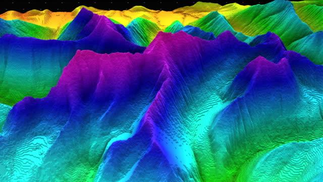 stockvideo's en b-roll-footage met 3d render van een bodem segment, bergen geïsoleerd op donkere achtergrond. - geologie