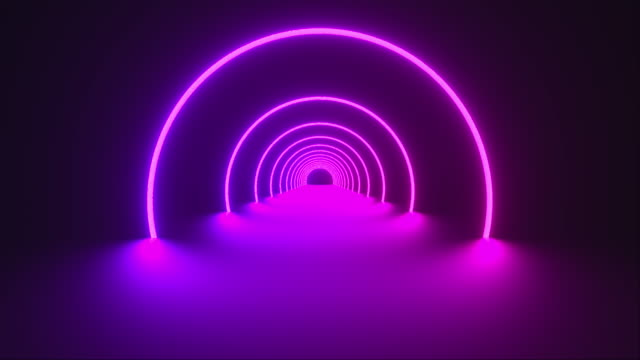 stockvideo's en b-roll-footage met 3d teruggeeft van cirkelneontunnel. ultraviolet te abstracte achtergrond van ronde arcade. computer genereerde een virtual reality - boog architectonisch element