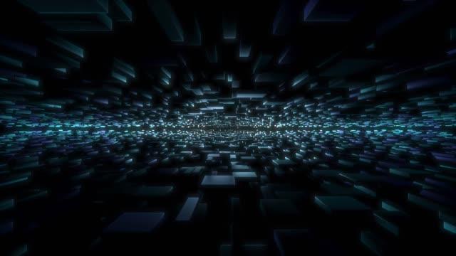 vídeos de stock, filmes e b-roll de 3d renderização de objetos voando embora o espaço com ponto de fuga - perspectiva espacial