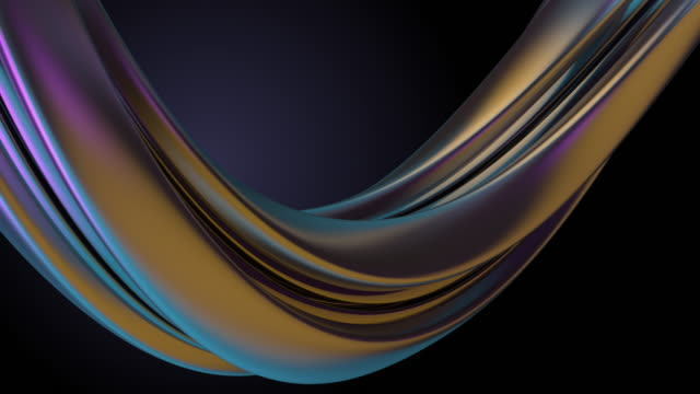 3d render of twist colorful loop with different lights