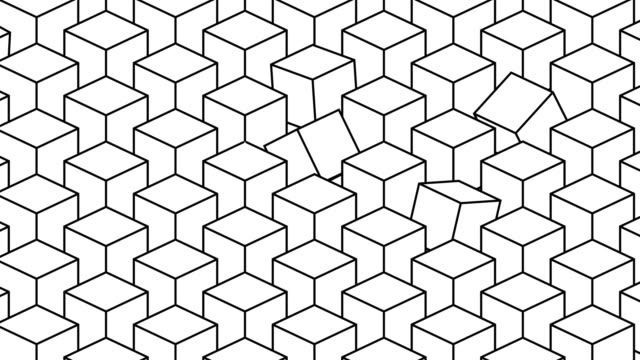 3d render: Seamlessly loopable minimalistic animation of randomly rotating isometric cubes in white with black outlines 3d render: Seamlessly loopable minimalistic animation of randomly rotating isometric cubes in white with black outlines isometric stock videos & royalty-free footage