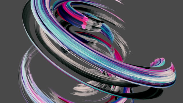 vídeos de stock e filmes b-roll de 3d render, spinning colorful gouache brush stroke isolated on grey, paint smear, artistic splash, abstract background - dar murros