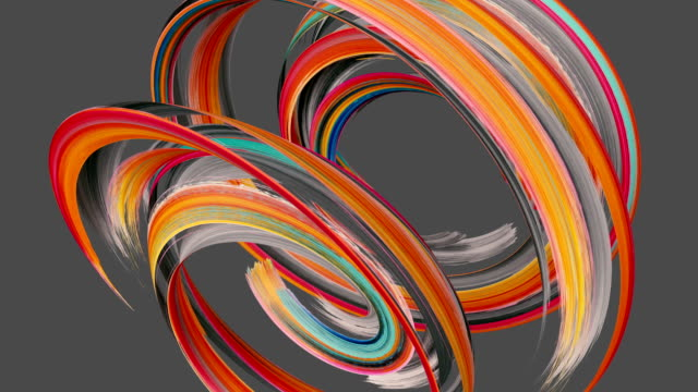 3d render, spinning red gouache brush stroke isolated on grey, paint smear, artistic splash, abstract background - spirale ricciolo video stock e b–roll