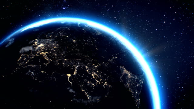 3d Render using satellite imagery (NASA). Planet earth Europe zone with night time and sunrise from space video