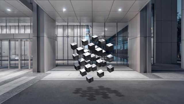 vídeos y material grabado en eventos de stock de composición de bloques renderizados 3d - cube