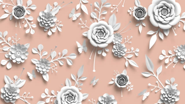 3d Rendering Animation Of Growing Floral Background Blooming Paper