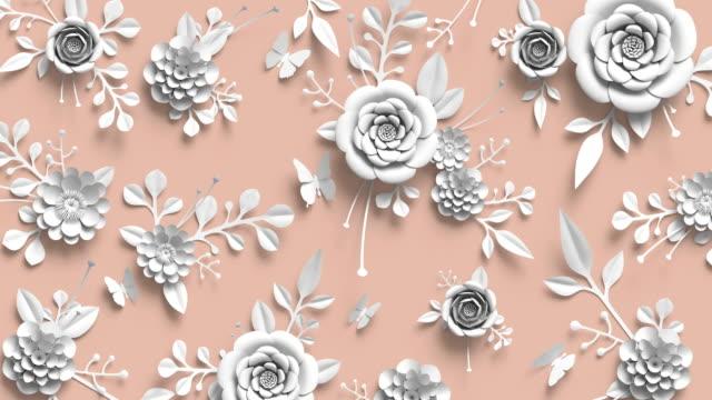 3d-rendering, animation av växande blommig bakgrund, blommande botaniska mönster, pastellfärger, papercraft, pappersblommor, ljusa nyans palett - white roses bildbanksvideor och videomaterial från bakom kulisserna