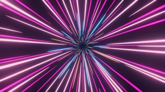 3d rendering colored warp loop star burst 4k - tunnel video stock e b–roll