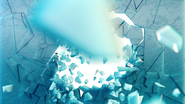 3d rendering, explosion, broken ice wall, cracked earth, bullet hole, destruction, abstract background with volume light rays. video