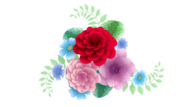 3d-rendering, växande blommor bakgrund blommor, blommande botaniska mönster, brudbukett runda, godis pastellfärger, ljus nyans palett, 4k animation, isolerad på vit bakgrund - blommönster bildbanksvideor och videomaterial från bakom kulisserna