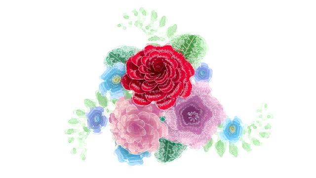 3d rendering, growing floral background flowers, blooming botanical pattern, watercolor drawing style, bridal round bouquet, pastel colors, bright hue palette, animation isolated on white background