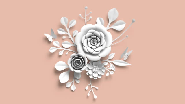 3d-rendering, växande blommig bakgrund från pappersblommor, blommande botaniska mönster, bridal runda papercraft, ljusa nyans palett, pastellfärger, bukett, 4 k animation - white roses bildbanksvideor och videomaterial från bakom kulisserna