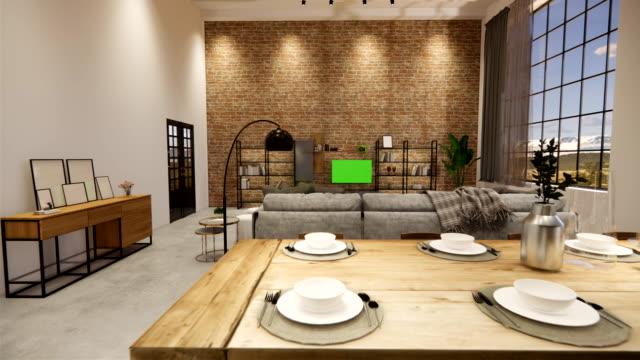 renderowanie 3d. wnętrze domu nowoczesna otwarta przestrzeń mieszkalna z kuchnią. loft styl dwupoziomowy apartament rezydencji. dekoracja wnętrz luksusowy wystrój wnętrz. - white house filmów i materiałów b-roll