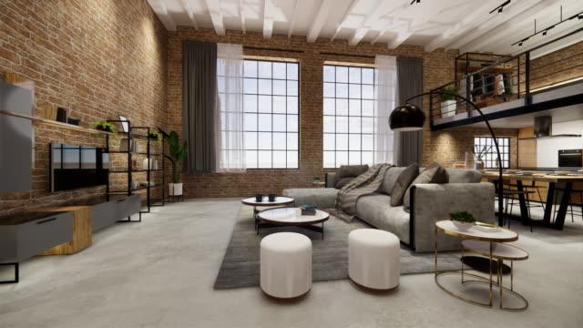 renderowanie 3d. wnętrze domu nowoczesna otwarta przestrzeń mieszkalna z kuchnią. loft styl dwupoziomowy apartament rezydencji. dekoracja wnętrz luksusowy wystrój wnętrz. - dekoracja filmów i materiałów b-roll