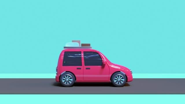 3d rendering motion abstrakt cartoon-stil auto fahren reise natur urlaub caoncept - drive illustration stock-videos und b-roll-filmmaterial