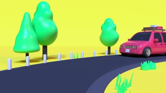 3d rendering motion abstract cartoon style car driving travel nature vacation holiday caoncept