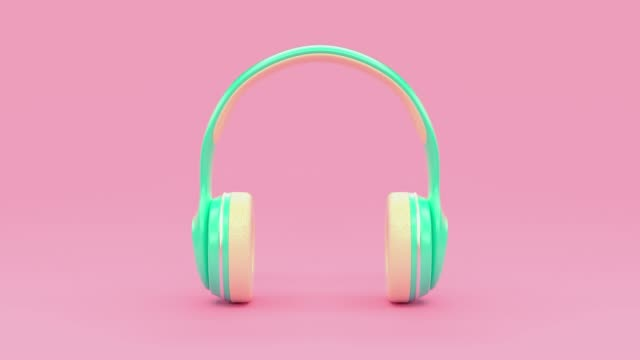3d rendering motion cartoon style music technology concept pastel colorful scene
