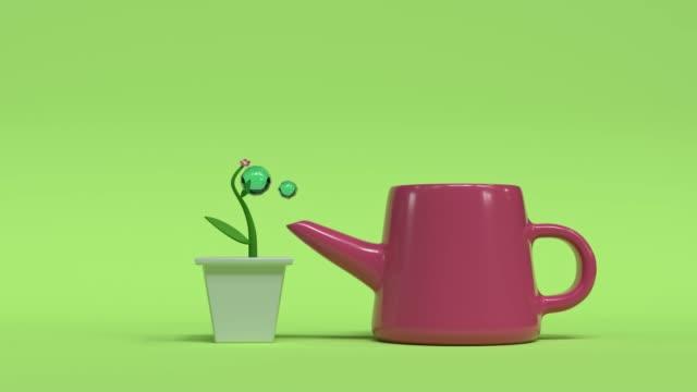 3d rendering motion cartoon style tree/flower pot watering green scene
