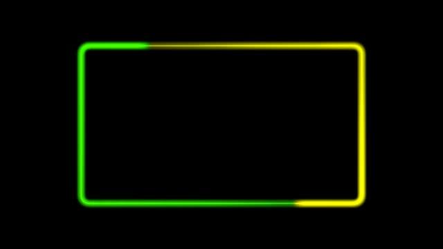 3d wiedergabe eines perfekten looping-neonlichts auf schwarz - rechteck stock-videos und b-roll-filmmaterial