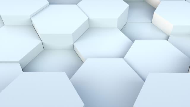 rendering 3d di sfondo a nido d'ape. progettazione astratta generata al computer - esagono video stock e b–roll