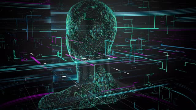 3d rendering of human on geometric element technology Virtual abstract technology Social Network social media marketing internet concept background