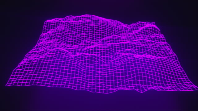 Video 3d rendering of topographic map concept. Computer generated abstract background contour map. Wavy surface with neon light