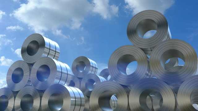 vídeos de stock e filmes b-roll de 3d rendering roll of steel sheets in factory - aço