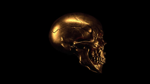 3d seamless animation of scary grunge gold human skull with alpha channel. Motion graphics of creepy gothic skull with teeth. Dark fantasy. Turntable Devil gold Mask. Skull and Crossbones. Halloween. skull stock videos & royalty-free footage
