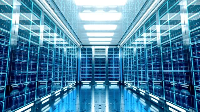 3 d server-raum – innenbereich - netzwerkserver stock-videos und b-roll-filmmaterial