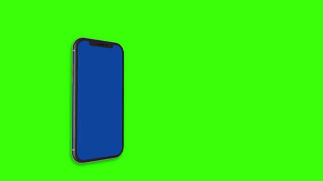 vidéos et rushes de 3d smartphone motion montrant la conception avec bleu sur l'écran et fond d'écran vert pour la couleur matte. noir téléphone blanc bleu screen. smart téléphone isolé sur fond vert - symbole