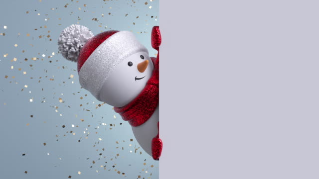 3d snowman looking out the corner, holding blank banner, blinking and smiling. Gold confetti falling. Happy New Year. Merry Christmas animated greeting card. Winter holiday background. 1920x1080 hd