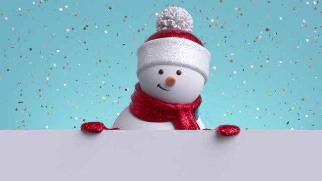 vídeos y material grabado en eventos de stock de 3d muñeco de nieve mirando por la pared, sosteniendo bandera en blanco, parpadeando y sonriendo. caen confeti de oro. feliz año nuevo. feliz navidad tarjeta de felicitación animada. fondo de vacaciones de invierno. 1920x1080 hd - snowman