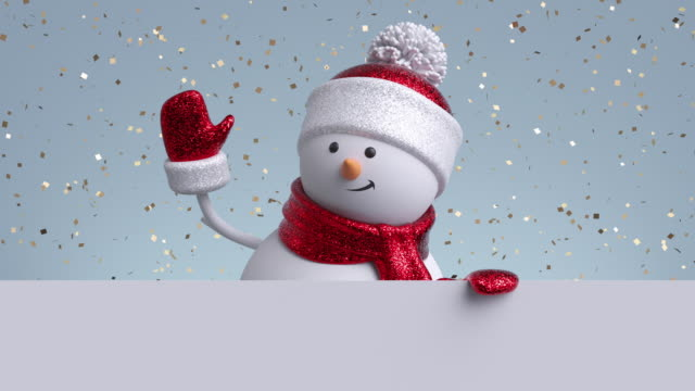 3d snowman waving hand, looking out the wall, holding blank banner. Gold confetti falling. Happy New Year. Merry Christmas animated greeting card, copy space. Winter holiday background. 1920x1080 hd 3d snowman waving hand, looking out the wall, holding blank banner. Gold confetti falling. Happy New Year. Merry Christmas animated greeting card, copy space. Winter holiday background. 1920x1080 hd snowman stock videos & royalty-free footage