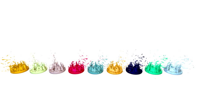 3d splashes of liquid. paint bounce in 4k on white background. simulation of splashes of ink on a musical speaker that play music. multicolor version 6 - tavolozza video stock e b–roll