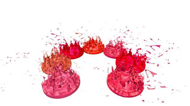 3d splashes of liquid. paint bounce in 4k on white background. simulation of splashes of ink on a musical speaker that play music. version shades of red 5 - tavolozza video stock e b–roll