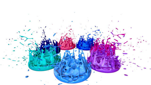 3d splashes of liquid. paint bounce in 4k on white background. simulation of splashes of ink on a musical speaker that play music. multicolor version - tavolozza video stock e b–roll