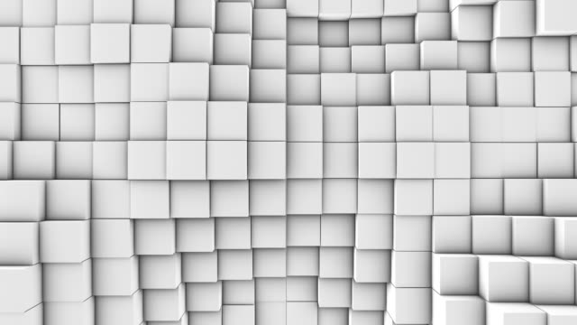 3d turbulent background, 4k abstract animation A lot of white cubes on the surface of the whole screen, volumetric wave-like movement of cubes densely adjacent to each other, slow motion 4K abstract background block shape stock videos & royalty-free footage
