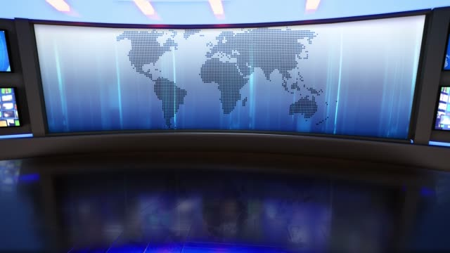 3d virtual news studio green screen background - studio filmów i materiałów b-roll