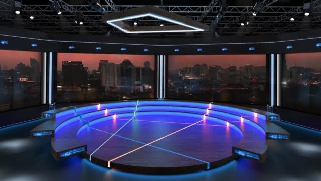 3d virtuelle s- und nachrichtenstudio-hintergrund - atelier stock-videos und b-roll-filmmaterial